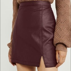 Abercrombie & Fitch Burgandy leather skirt
